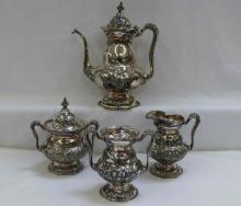 American Silver Co Art Nouveau Silver Floral Embossed Tea Set