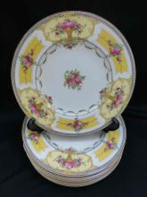 Set 10 Royal Worcester Yellow w Flower Basket Dinner Plates