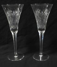 Pair Waterford Crystal Champagne Flutes Star or Daisy