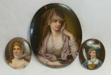 Collection of 3 Oval Porcelain Portrait Plaques 19th c.