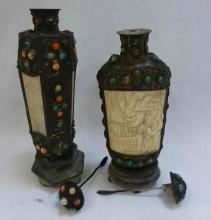 Pair Carved & Cabochon Decorated Snuff Bottles