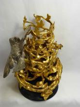 Gilded Bonze Bird Buliding a Nest Sculpture