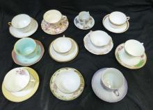Group Lot of 11 Teacups & Saucers Haviland and Others