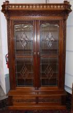 Amazing Victorian Carved Wood Beveled Glass Bookcase