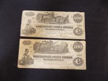 (2)1862 Confederate States of America $100 Note Dated August/1862 Civil War Currency