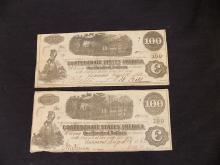 (2)1862 Confederate States of America $100 Note Dated August 16, 1862 Civil War Currency