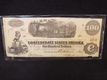 1862 Confederate States of America $100 Note Dated October 2, 1862 Civil War Currency