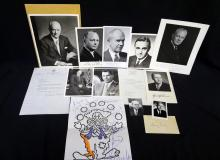 (11) Original Political Autographed Photos: Thomas Gates, Crane Brinton others