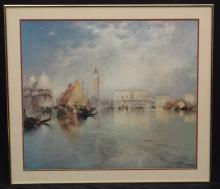 Thomas Moran Ship in the Harbor Large Lithograph