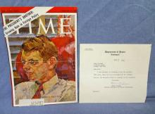 Robet Kennedy Autographed Time Magazine Cover 2-16-62 LOA from JSA