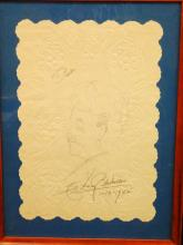 Harry Blackstone Autograph and Self-Portrait on Placemat Framed