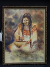 Watercolor Painting by Blackfeet Artist King Kuka