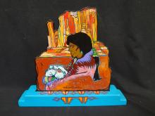 Amado Pena Hand Painted Wooden Sculpture Signed on piece and bottom