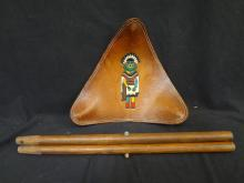 Hopi Native American Triangular Tooled Leather Seat circa 1950's