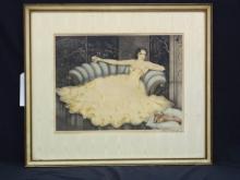 Elie Paul Marquie Art Nouveau Color Dry Point Etching