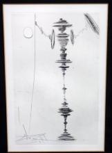 Salvador Dali Signed Etching 11.25 x 14.25. Matted and framed