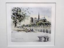 Henri Le Riche Hand Colored Etching Framed