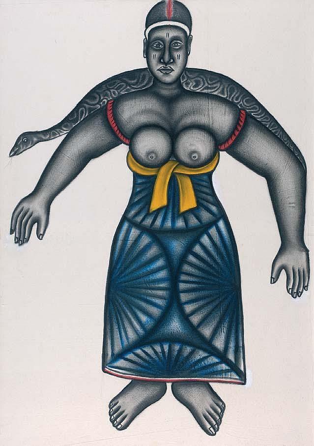 CYPRIEN TOKOUDAGBA Dangbé Huile sur toile, 133 x