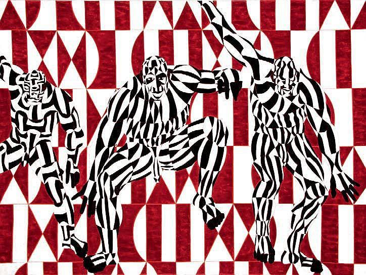 OWUSU ANKOMAH Danse Acrylique sur toile. Signée au
