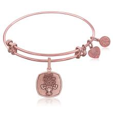 Expandable Bangle in Pink Tone Brass with Don't Hog The Nog Symbol #91466v2