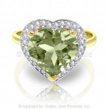 14K Solid Gold RING WITH DIAMONDS & HEART GREEN AMETHYST #18218v0