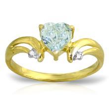 14K Solid Gold Jazzonia Aquamarine Diamond Ring #19073v0