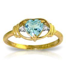 14K Solid Gold Rendezvous Blue Topaz Diamond Ring #18758v0