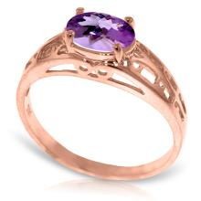14K Rose Gold Filigree Ring with Purple Amethyst #16876v0