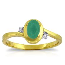 14K. Solid Gold RINGS WITH NATURAL DIAMONDS & EMERALD #12743v0