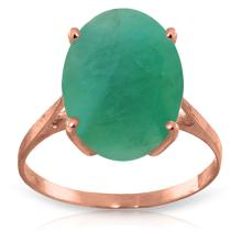 14K Rose Gold Ring with Oval Emerald #16452v0