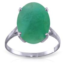 14K White Gold Ring with Oval Emerald #18039v0