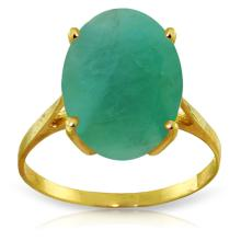14K Solid Gold Ring with Oval Emerald #13532v0