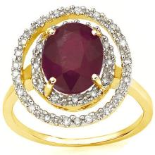 GENUINE 3.14 CTW RUBY AND 0.16 CTW DIAMOND 10K SOLID YELLOW GOLD RING  #42809v2