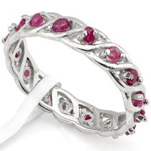 GENUINE 0.73 CTW RUBY IN PLATINUM PLATED .925 STERLING  #42726v2
