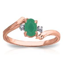 14K. Rose Gold RINGS WITH NATURAL DIAMONDS & EMERALD #18616v0