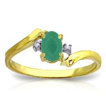 14K. Solid Gold RINGS WITH NATURAL DIAMONDS & EMERALD #18615v0
