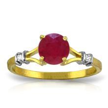 14K Solid Gold Ruby Perspiration Ruby Diamond Ring #17492v0