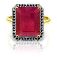 14K. Solid Gold RING WITH BLACK DIAMONDS & RUBY #13879v0