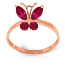 14K Rose Gold Butterfly Ring with Rubies #19396v0