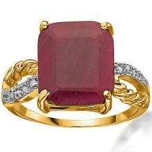 GENUINE 5.91 CTW RUBY AND 0.09 CTW DIAMOND 10K SOLID YELLOW GOLD RING  #42820v2