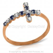 14K Rose Gold CROSS RING WITH DIAMONDS & SAPPHIRES #15185v0