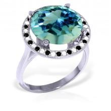14K. White Gold RING WITH BLACK / WHITE DIAMONDS & BLUE TOPAZ #11273v0