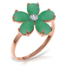 14K Rose Gold Emeralds Rule Emerald Diamond Ring #15416v0