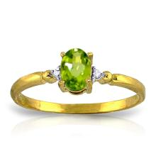 14K Solid Gold My Better Half Peridot Diamond Ring #11473v0