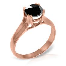14K Rose Gold Solitaire Ring with 1.0 Ct. Black Diamond #21337v0