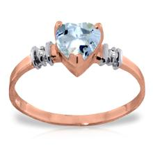 14K Rose Gold Ring with Aquamarine & Diamond #15457v0