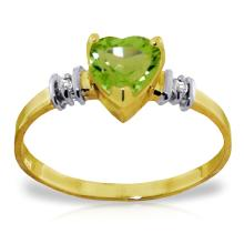 14K Solid Gold Ring with Peridot & Diamonds #12935v0
