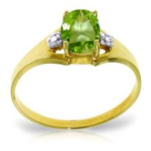 14K Solid Gold Motions Of Love Peridot Diamond Ring #13547v0