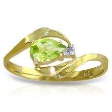 14K Solid Gold Indulge In Passion Peridot Diamond Ring #12837v0