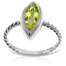 14K. White Gold RINGS WITH NATURAL MARQUIS PERIDOT #14175v0